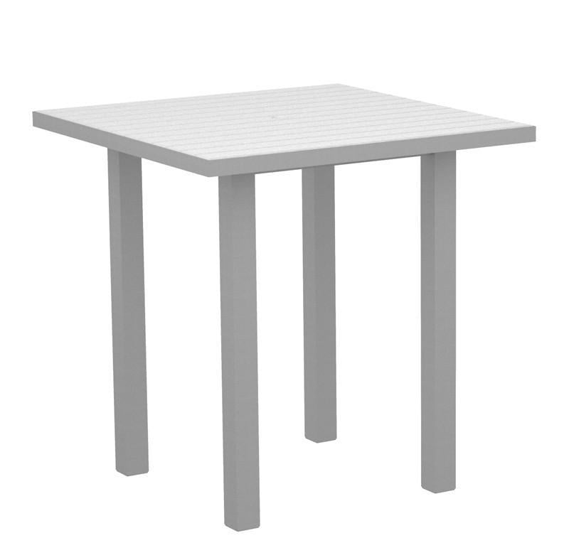 Square Counter Table Textured Silver Aluminum Frame White Euro 2602 Product Photo