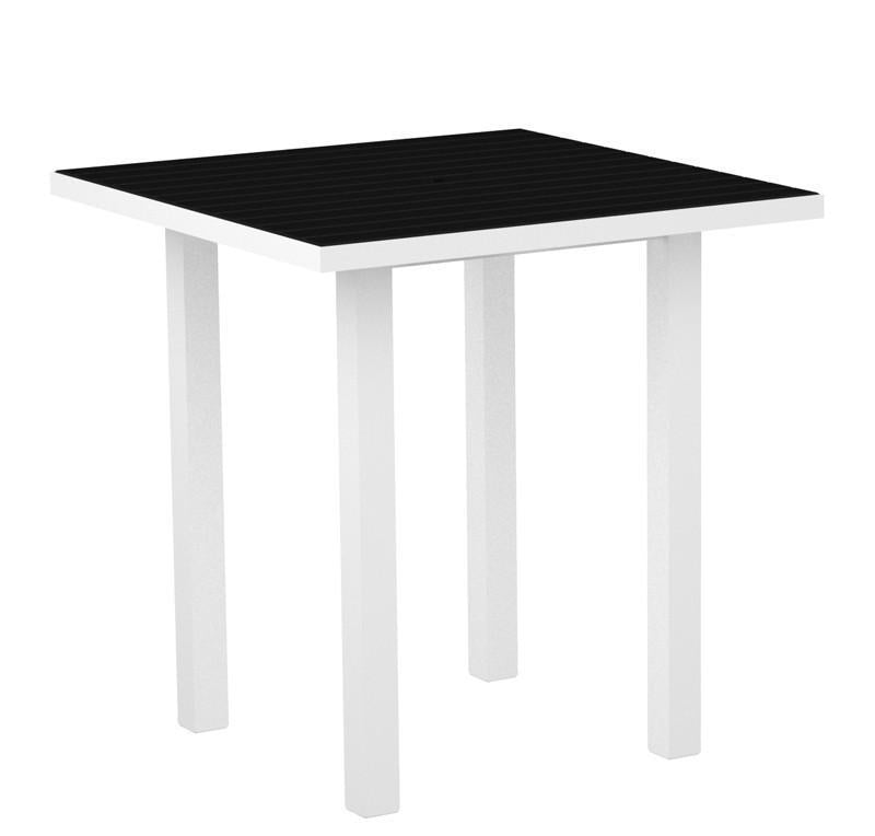 Euro Square Counter Table Gloss White Aluminum Frame Black 3155 Product Photo