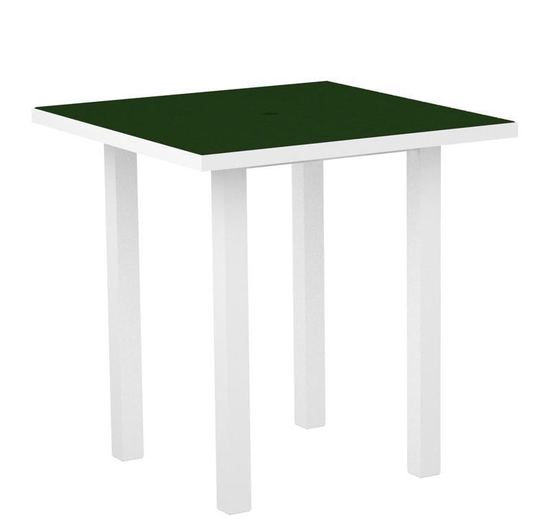 Euro Square Counter Table Gloss White Aluminum Frame Green 3155 Product Photo