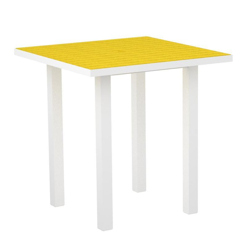 Euro Square Counter Table Gloss White Aluminum Frame Lemon 3155 Product Photo