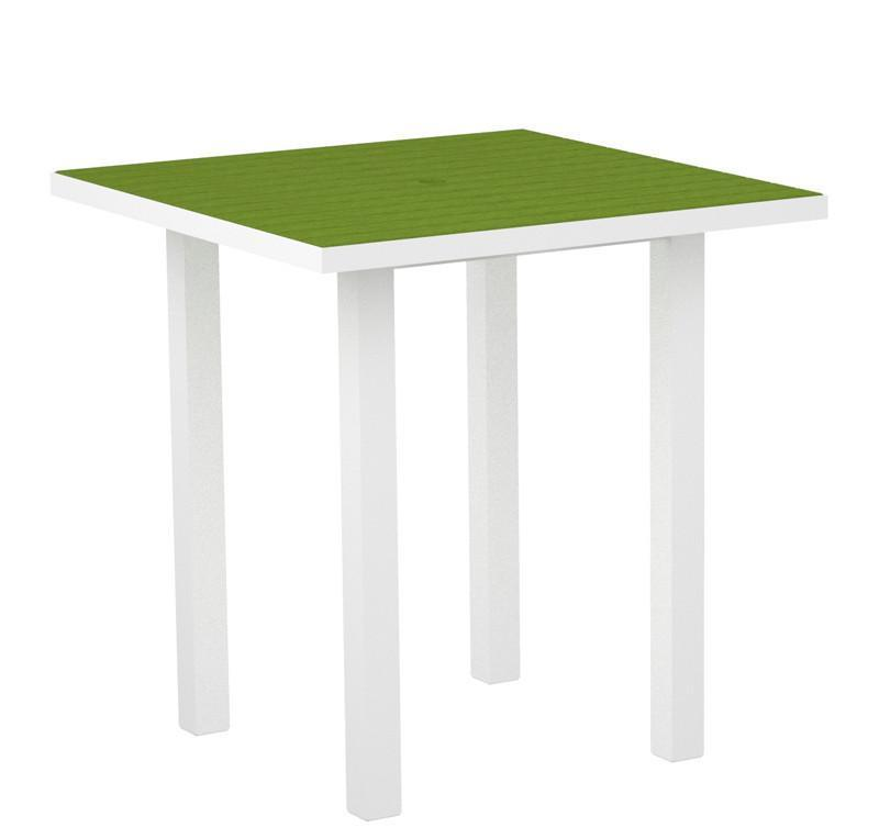 Euro Square Counter Table Gloss White Aluminum Frame Lime 3155 Product Photo
