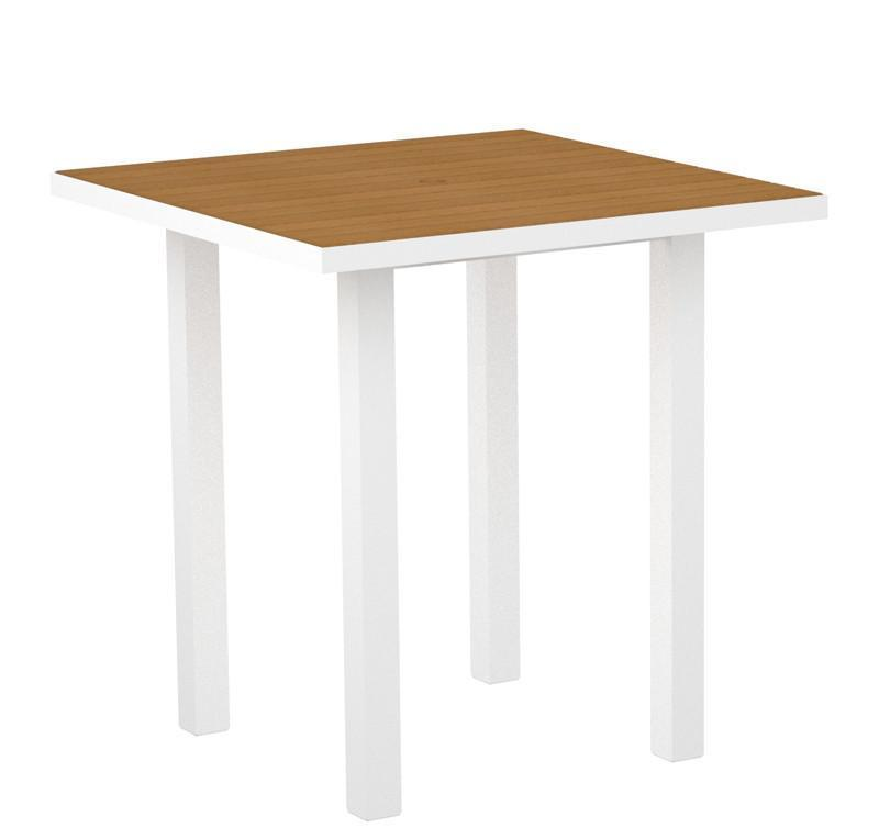Square Counter Table Gloss White Aluminum Frame Plastique 16725 Product Photo