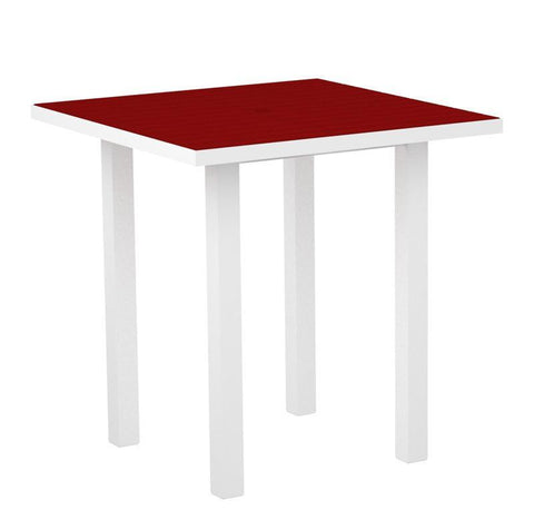 "Polywood ATR36FAWSR Euro 36"" Square Counter Table in Gloss White Aluminum Frame / Sunset Red - PolyFurnitureStore"