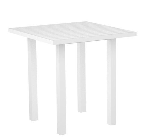 "Polywood ATR36FAWWH Euro 36"" Square Counter Table in Gloss White Aluminum Frame / White - PolyFurnitureStore"