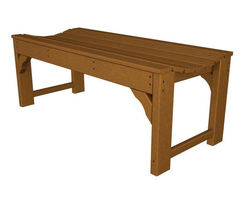 "Polywood BAB148TE Traditional Garden 48"" Backless Bench in Teak - PolyFurnitureStore"
