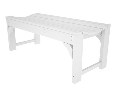 "Polywood BAB148WH Traditional Garden 48"" Backless Bench in White - PolyFurnitureStore"