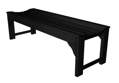 "Polywood BAB160BL Traditional Garden 60"" Backless Bench in Black - PolyFurnitureStore"