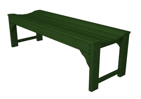 "Polywood BAB160GR Traditional Garden 60"" Backless Bench in Green - PolyFurnitureStore"