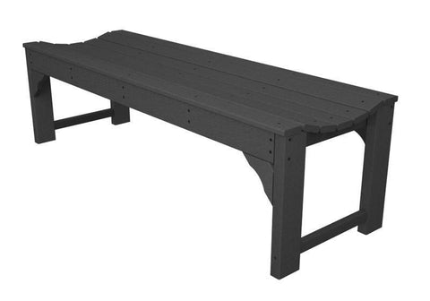 "Polywood BAB160GY Traditional Garden 60"" Backless Bench in Slate Grey - PolyFurnitureStore"