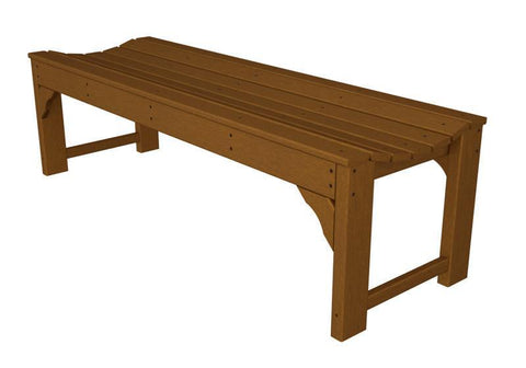 "Polywood BAB160TE Traditional Garden 60"" Backless Bench in Teak - PolyFurnitureStore"