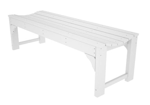 "Polywood BAB160WH Traditional Garden 60"" Backless Bench in White - PolyFurnitureStore"