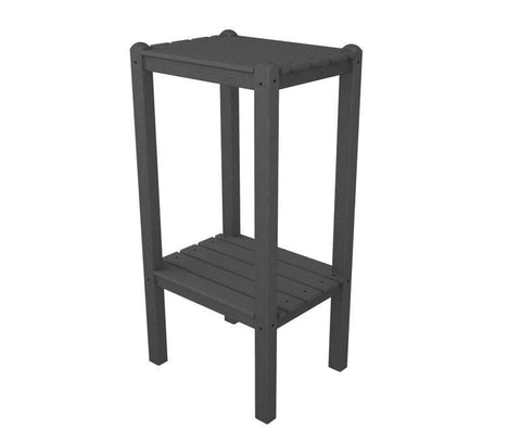 Polywood BSTGY Two Shelf Bar Side Table in Slate Grey - PolyFurnitureStore