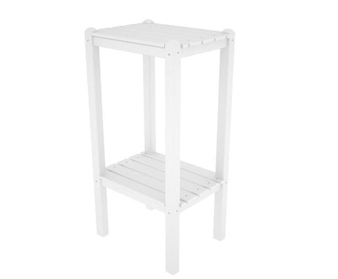 Polywood BSTWH Two Shelf Bar Side Table in White - PolyFurnitureStore