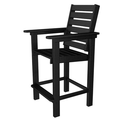 Polywood CCB25BL Captain Counter Chair in Black - PolyFurnitureStore