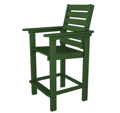 Polywood CCB25GR Captain Counter Chair in Green - PolyFurnitureStore