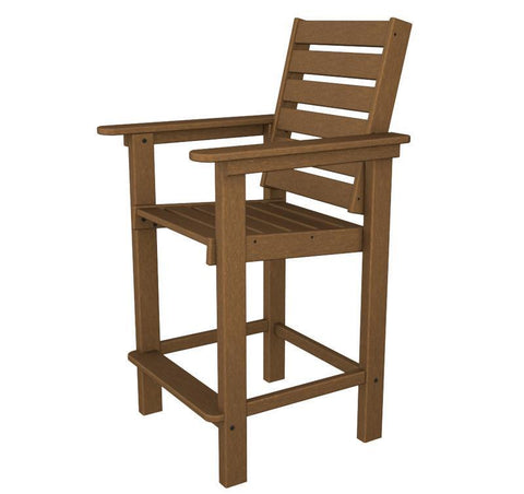 Polywood CCB25TE Captain Counter Chair in Teak - PolyFurnitureStore