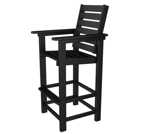 Polywood CCB30BL Captain Bar Chair in Black - PolyFurnitureStore