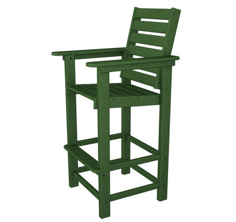 Polywood CCB30GR Captain Bar Chair in Green - PolyFurnitureStore