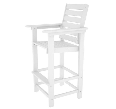 Polywood CCB30WH Captain Bar Chair in White - PolyFurnitureStore
