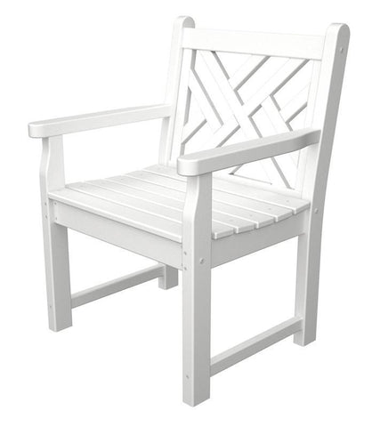 Polywood CDB24WH Chippendale Garden Arm Chair in White - PolyFurnitureStore