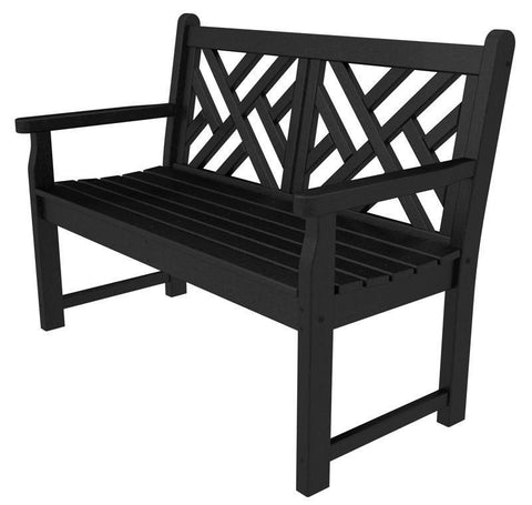 "Polywood CDB48BL Chippendale 48"" Bench in Black - PolyFurnitureStore"