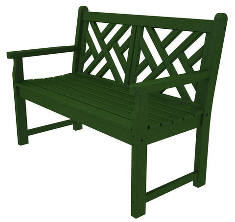 "Polywood CDB48GR Chippendale 48"" Bench in Green - PolyFurnitureStore"