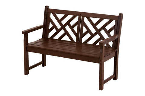 "Polywood CDB48MA Chippendale 48"" Bench in Mahogany - PolyFurnitureStore"