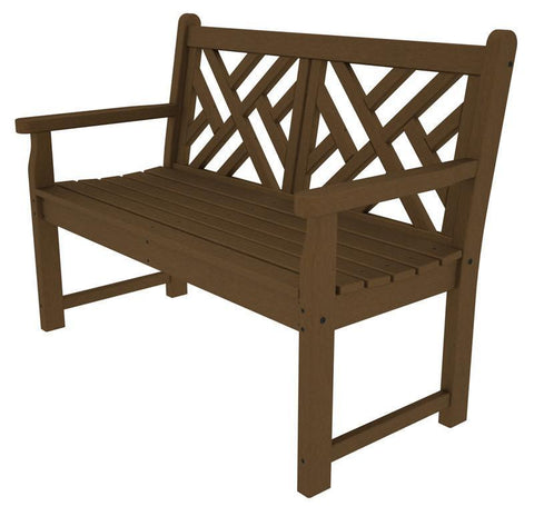 "Polywood CDB48TE Chippendale 48"" Bench in Teak - PolyFurnitureStore"