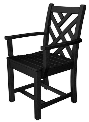 Polywood CDD200BL Chippendale Dining Arm Chair in Black - PolyFurnitureStore