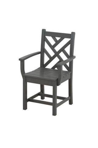 Polywood CDD200GY Chippendale Dining Arm Chair in Slate Grey - PolyFurnitureStore