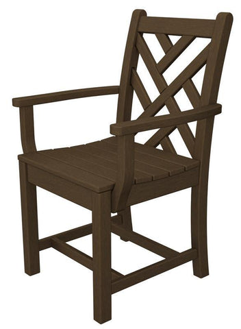 Polywood CDD200TE Chippendale Dining Arm Chair in Teak - PolyFurnitureStore