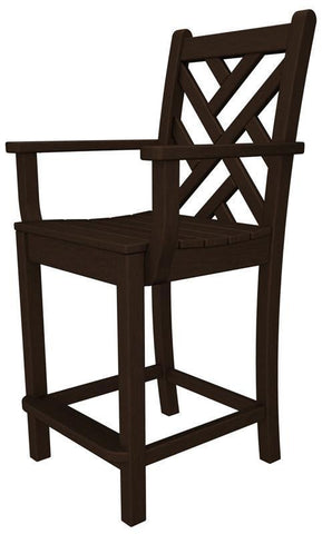Polywood CDD201MA Chippendale Counter Arm Chair in Mahogany - PolyFurnitureStore