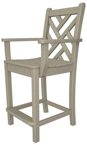 Polywood CDD201SA Chippendale Counter Arm Chair in Sand - PolyFurnitureStore