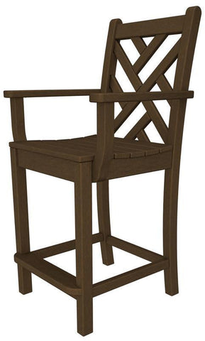 Polywood CDD201TE Chippendale Counter Arm Chair in Teak - PolyFurnitureStore