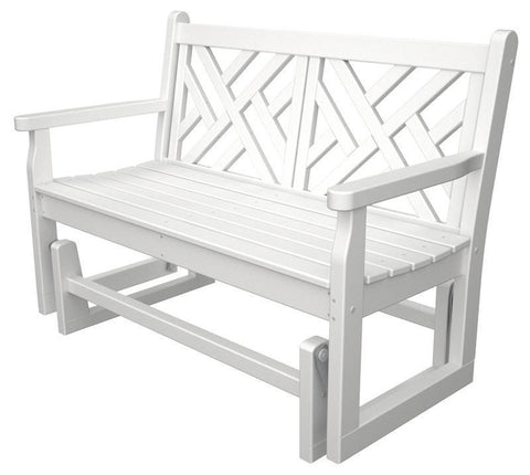 Polywood CDG48WH Chippendale Glider in White - PolyFurnitureStore