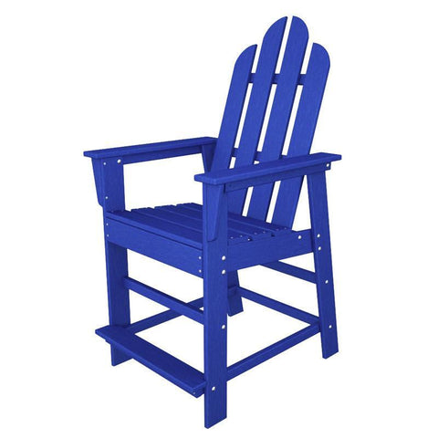 Polywood ECD24PB Long Island Counter Chair in Pacific Blue - PolyFurnitureStore