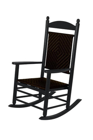 Polywood K147FBLCA Jefferson Woven Rocker in Black Frame / Cahaba - PolyFurnitureStore