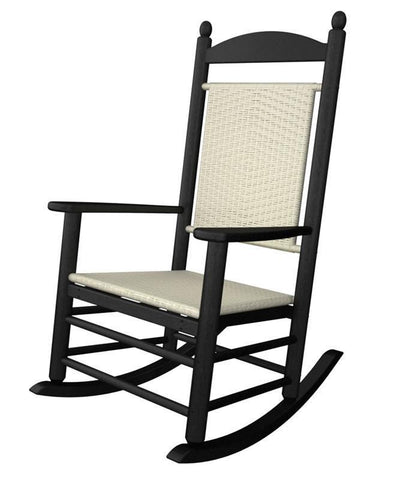 Polywood K147FBLWL Jefferson Woven Rocker in Black Frame / White Loom - PolyFurnitureStore