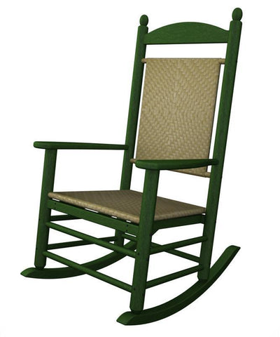 Polywood K147FGRSG Jefferson Woven Rocker in Green Frame / Seagrass - PolyFurnitureStore