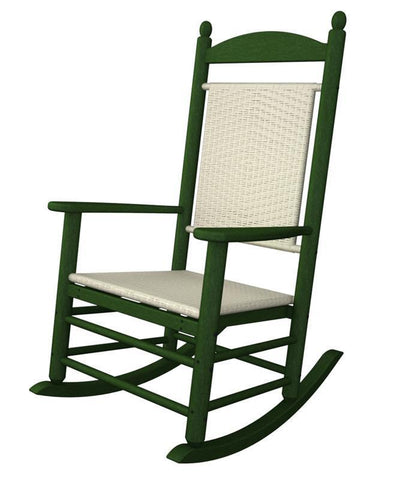 Polywood K147FGRWL Jefferson Woven Rocker in Green Frame / White Loom - PolyFurnitureStore