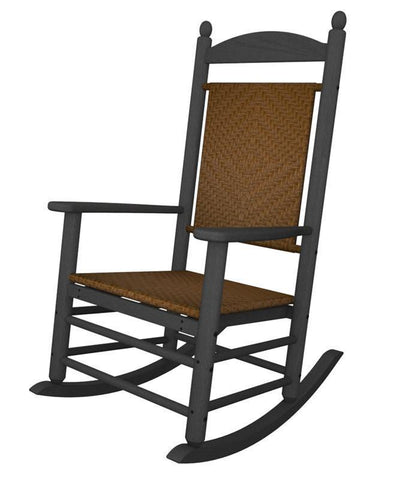 Polywood K147FGYTW Jefferson Woven Rocker in Slate Grey / Tigerwood - PolyFurnitureStore