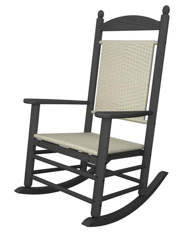 Polywood K147FGYWL Jefferson Woven Rocker in Slate Grey / White Loom - PolyFurnitureStore