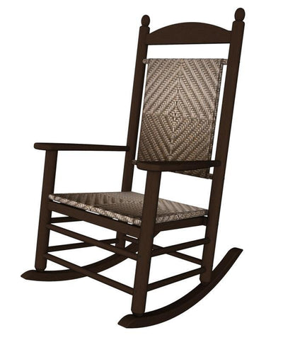Polywood K147FMACA Jefferson Woven Rocker in Mahogany Frame / Cahaba - PolyFurnitureStore