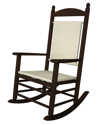 Polywood K147FMAWL Jefferson Woven Rocker in Mahogany Frame / White Loom - PolyFurnitureStore