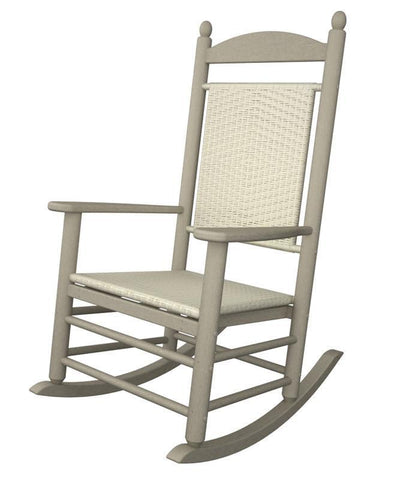 Polywood K147FSAWL Jefferson Woven Rocker in Sand Frame / White Loom - PolyFurnitureStore