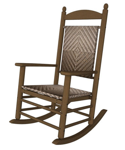 Polywood K147FTECA Jefferson Woven Rocker in Teak Frame / Cahaba - PolyFurnitureStore