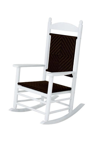 Polywood K147FWHSG Jefferson Woven Rocker in White Frame / Seagrass - PolyFurnitureStore