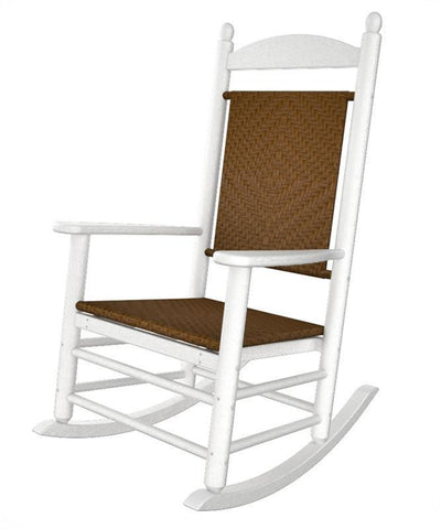 Polywood K147FWHTW Jefferson Woven Rocker in White Frame / Tigerwood - PolyFurnitureStore