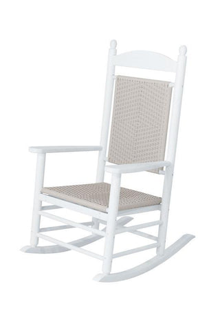 Polywood K147FWHWL Jefferson Woven Rocker in White Frame / White Loom - PolyFurnitureStore