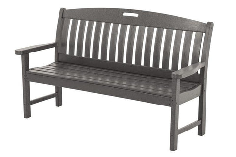 "Polywood NB60GY Nautical 60"" Bench in Slate Grey - PolyFurnitureStore"